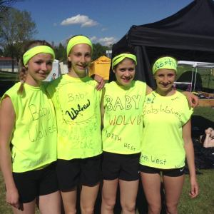 Brittany Duvall (far left), Kailey Bratland (second from the right), and Kelsey Bishop (far right) all represented Zone 8 at the 2014 Alberta Summer Games