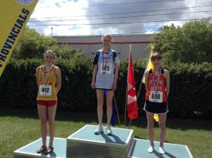 Left to right Skye Russell (Strathcona Edm), Mirelle Martens, and Nicole Kitt - Senior Womens 3000 podium at the 2014 ASAA Provincial Track and Field Championship