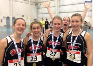 2015 ACAC Indoor 4 x 400m Women's Champs (left to right) Jackie Benning, Amanda Patteson, Kirsten Manz, Jamie Wigmore (photobomber) Emily Whalen