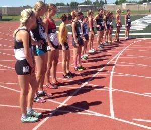 Brittany Duvall (far left) and Kailey Bratland (far right) both notched top 5 performances at the 2015 ASAA Provincial Track Meet in Lethbridge