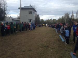Crowd gathers at the finish of the 2015 ASAA Provincial High School XC Running Championships in Grande Prairie