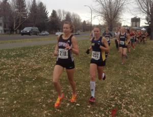 Jamie Wigmore and Mariya Jenkins in the early stages of the 2015 ACAC Cross Country Running Championships