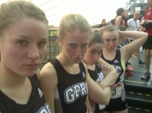 The Wolves Women's 4 x 400 team parlayed these game faces into a 6 th place finish